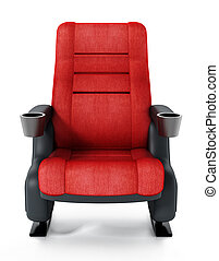 Red cinema chair isolated on white background. 3D illustration