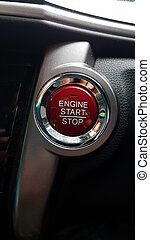 Red circle button controller of engine start and stop of hi-tech car