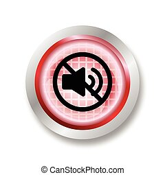 Red circle glossy web icon Mute