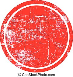 red circle grunge stamp with blank siolated on white background.