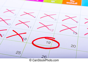 Red circle. mark on the calendar at 19