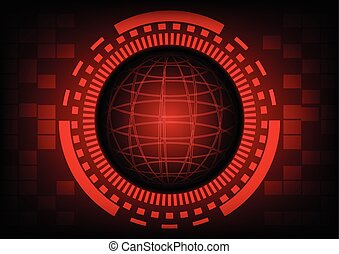 Red circle of globe with ring and gears in technology background, Vector illustration.
