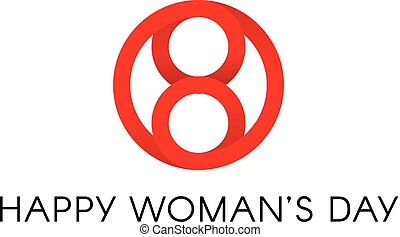 Red circle shape, happy international womens day sign, abstract minimal vector logo template on white background.