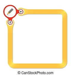 Red circle with pencil and yellow frame for your text