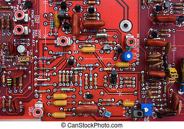 Red circuit board - Computer circuit board close-up