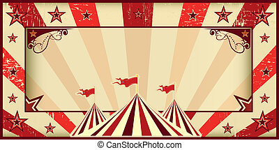 Red circus invitation - Circus invitation with sunbeams and...