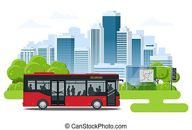 Red City Bus at a bus stop. People get in and out of the bus. Public transport with driver and people.