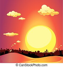 red city sunset - vector illustration