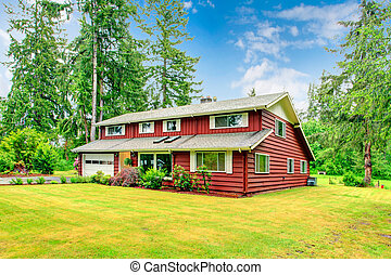 Red clapboard siding house