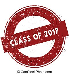 Red CLASS OF 2017 rubber stamp illustration on white background