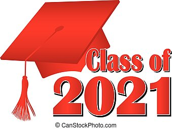 Red Class of 2021 Graduation Cap