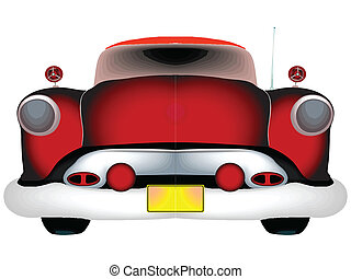 red classic car against white