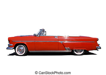Shiny red classic car isolated on white background