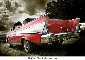 Wide angle shot of red classic car