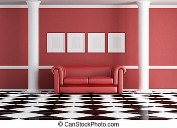 red classic living room