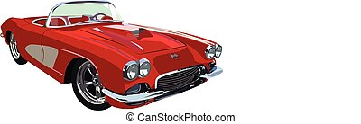 Red Classic-Muscle-Car - Vector graphic illustration design...
