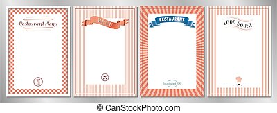 Red classic, retro, vintage restaurant menu templates - A4 format (210x297 mm)