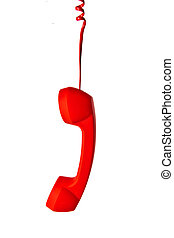 red classic telephone receiver on white background