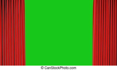 Red Classic Theatrical Abstract Curtain Opening and Closing on Green Screen. 3d Animation Theater Curtain with Alpha Mask. 4k Ultra HD
