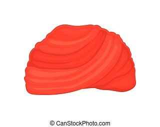 Red classic turban. Vector illustration on white background.