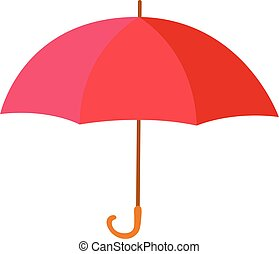 Red classic umbrella, equipment for rainy or snowy days weather