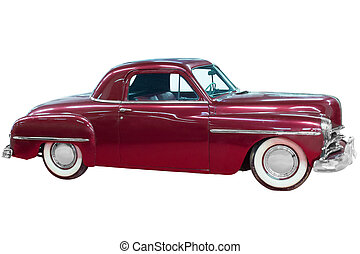 Red classical vintage automobile. Isolated over white...