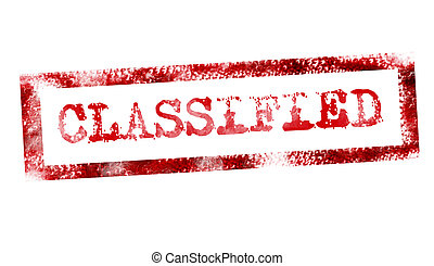 classified - red classified stamp on white background. ...