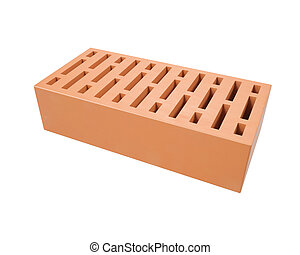 Red clay brick isolated on a white background . 3d...