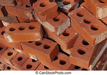 Red clay bricks with holes