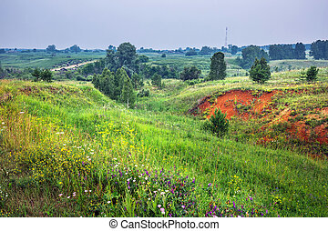 Red clay. Western Siberia - Output of natural clay of red ...