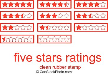 red clean rubber stamp five stars ratings