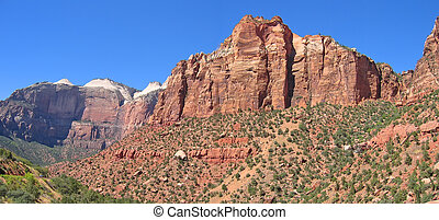 Red cliffs, Zion National Park, United States, Panorama -...