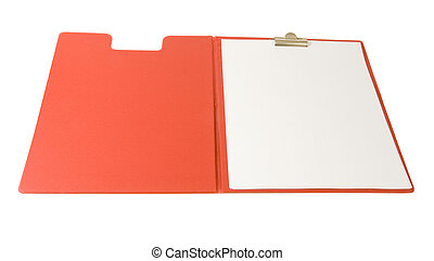 red clip board with blank sheet of paper