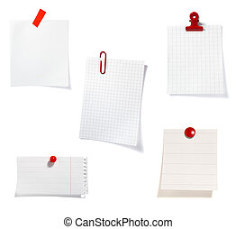 red clip notes business office group - close up of postit...