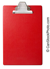 Red clipboard isolated with clipping path