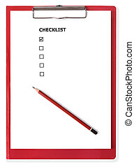 Red Clipboard with Blank Checklist