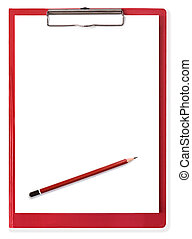Red Clipboard with Blank Paper and Pencil