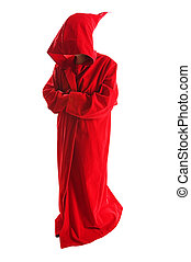 Red cloak - Person wearing spooky red cape on white...
