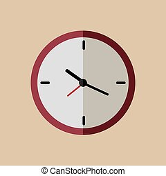 Red clock flat icon with long shadow