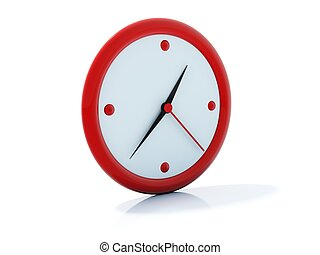 Red clock icon isolated on white