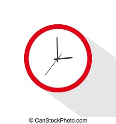 red clock icon. Time icon vector.