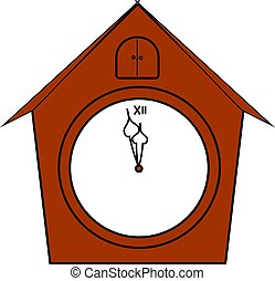 Red clock in shape of house, illustration, vector on white background.