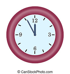 red clock minute hand on five to twelve hour simple vector icon illustration concept of last chance or deadline