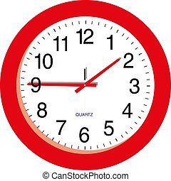Red clock on a white background vector illustration eps10