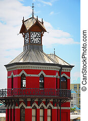 Red clock tower in Cape Town, South Africa - Clock tower in...