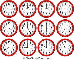 red clocks isolated on white background each showing a different hour