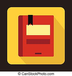 Red closed book icon in flat style