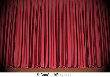 Red closed curtain - Red closed the curtain, lit by a...