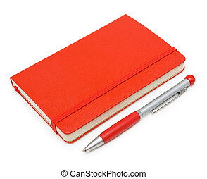 Red closed notepad and pen isolated on white