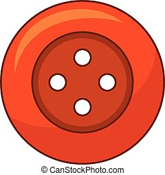 Red cloth button icon, cartoon style